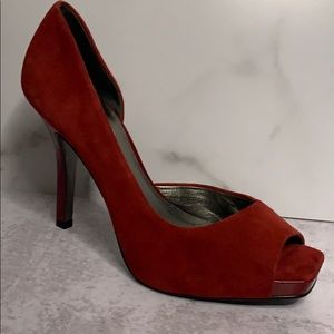Jessica Simpson Red Suede Peep Toe Heels Shoes 8.5